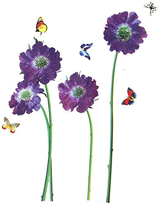 Wall Stickers PURPLE Flowers DIY VIOLET W Butterflies Nature Scenery Art Murals