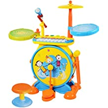 E-SCENERY Electric Big Jazz Drum Set for Kids with Movable Microphone to Sing, Chair, Music Keyboard, Bass Drum and Pedal With Drum Sticks, You Can Insert Phone MP3 Players And Other Devices