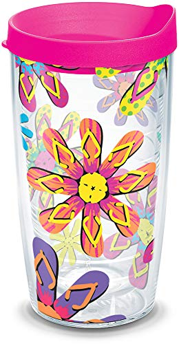 Tervis 1100269 Flip Flop Flower Tumbler with Wrap and Neon Pink Lid 16oz, Clear