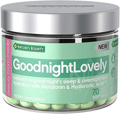 Nature's Bounty GoodnightLovely Vitamins, with Melatonin & Hyaluronic Acid, Supports Overnight Skin Hydration & Good Night's Sleep*, 70 Softgels
