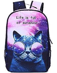 Bag Home Cartoon Animal Print Lightweight School Backpack Laptop Bag Galaxy Cat