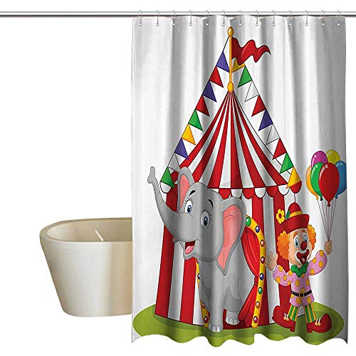 Circus Decor Polyester Fabric Shower Curtain Canvas Tent Circus Stage Performing Theater Jokes Clown Cheerful Night Theme Print Waterproof/Water-Repellent & Antibacterial 72