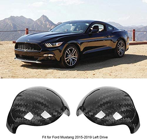 MVMTVT Interior Dash Covers for Ford Mustang 2015-2019 2pcs Left Drive Carbon Fiber Gear Shift Knob Cover