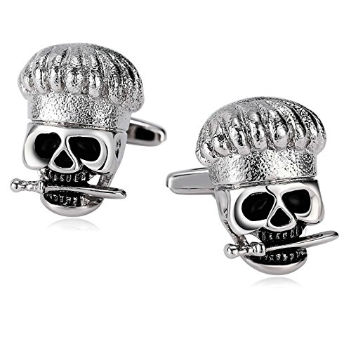r Men Suitable for Business Anniversary Wedding Stainless Steel Skull with Sword Cuff Links Silver Black ()