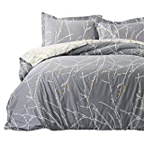 Bedsure Luxury Printed Duvet Cover Set Modern Microfiber with Zipper Closure and Corner Ties Grey Ivory Branch Pattern Full Queen Size 86