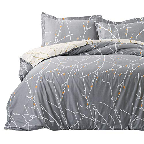 "Bedsure Duvet Cover Set with Zipper Closure-Grey/Ivory Printed Pattern,King (104""x90"")-3 Piece (1 Duvet Cover + 2 Pillow Shams)-110 GSM Ultra Soft Hypoallergenic Microfiber"