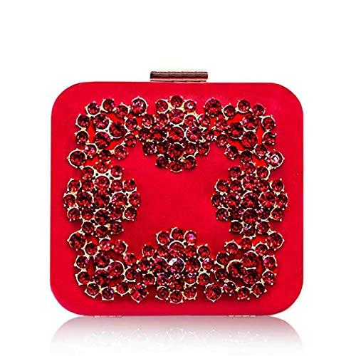 - uekj Diamonds Flower Crystal Clutch Evening Bag Golden Party Purse Women Wedding Bridal Handbag Pouch Bag red Clutch Bag