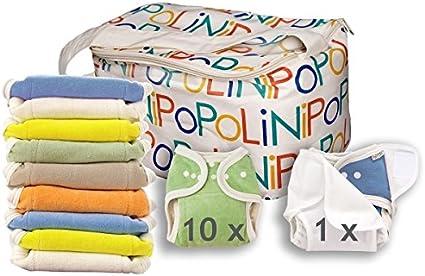 10/linges interm/édiaires et 1/culotte Popolini One Size Rainbow Kit /à langer avec10/couches