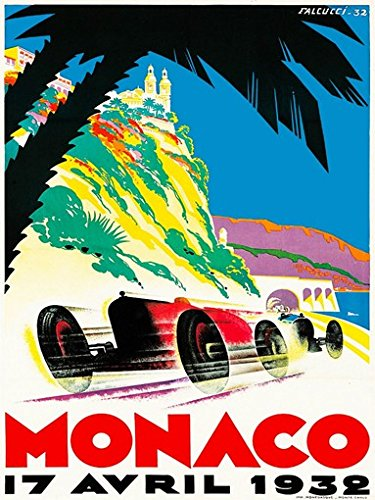 Grand Prix de Monaco Poster 1932 French Vintage Car Racing Rare Hot New