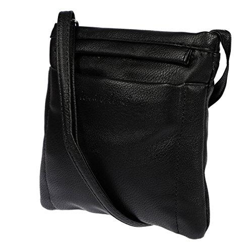 Kleine Umhängetasche Schultertasche aus hochwertigem, weichen PU Taupe Schwarz