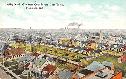 - Hammond Indiana Court House Clock Tower Birdseye View Antique Postcard K23257