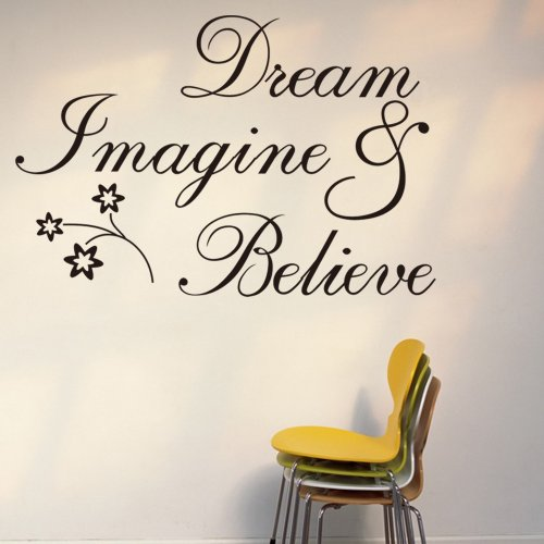 and Believe Inspirational Wall Decal Stickers Quotes saying and words DIY Home Decor Vinyl Wall Murals Art Decor Room Home Decoration (Word Wall Decor)