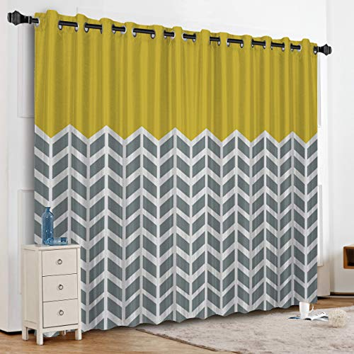 Anzona Kitchen Curtains Window Drapes Thermal Insulated, Blackout Curtains for Kitchen/Cafe/Office/Bedroom Window Treatment, Geometric Lattice Design 52''W x 24''L
