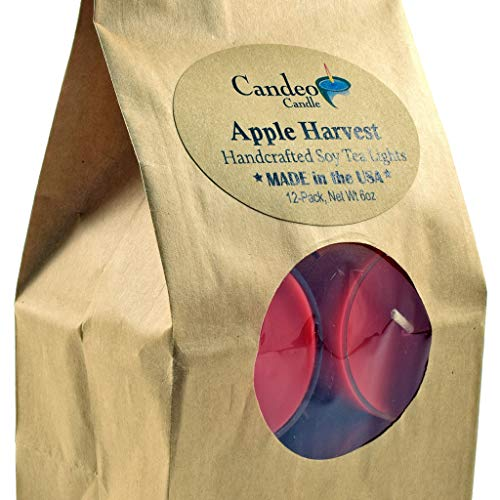 Apple Harvest, Fall Scented Soy Tealights, 12 Pack Clear Cup Candles, Autumn Scented - Fall Tealight Candles