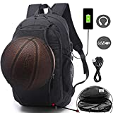 Basketball Backpacks Sports Bags for Football, Soccer with Ball Compartment Laptop Computer Backpack with USB Charging & Headphone Port Fit 15.6 inch Notebook for Men Women Youth Black