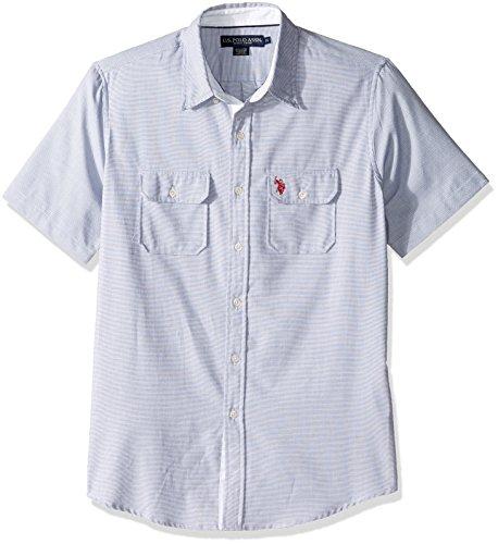 U.S. Polo Assn. Mens Two Pocket Classic Fit Stripe, Plaid Print Sport Shirt