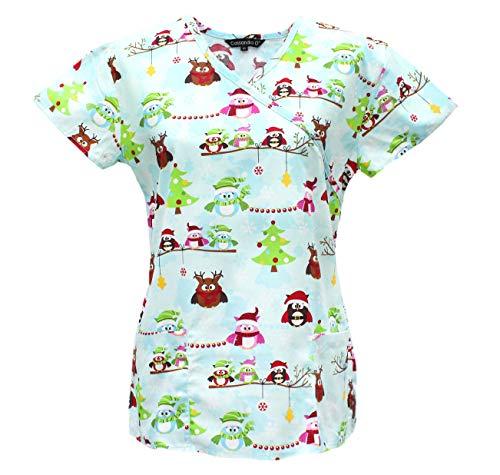 Cassandra Women's Christmas Winter Holiday Festive Medical Nursing Tie Back Scrub Top Shirt (Blue Owls, Medium)