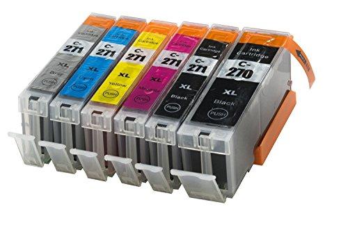6 Pack Compatible W/Gray Sherman Ink Cartridge Replacement for Canon PGI-270XL CLI-271XL High Yield (1 Black, 1 Cyan,1 Magenta,1 Yellow,1 Big Black,1 Grey) Printer Pixma MG7720 Cli 271 Pgi 270 XL