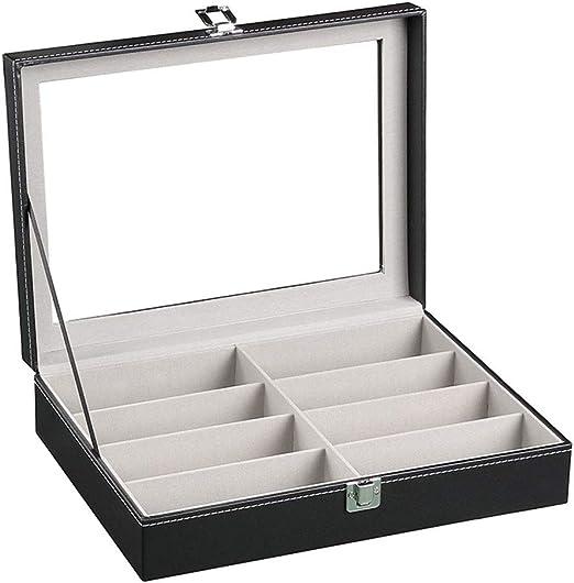 Caja de Gafas, Estuche para Gafas Diseño de tapa transparente Cuero de PU 8 compartimentos Caja de anteojos Soporte for gafas Gafas de sol Pantalla Organizador de almacenamiento Caja Bandeja Organizad: Amazon.es: