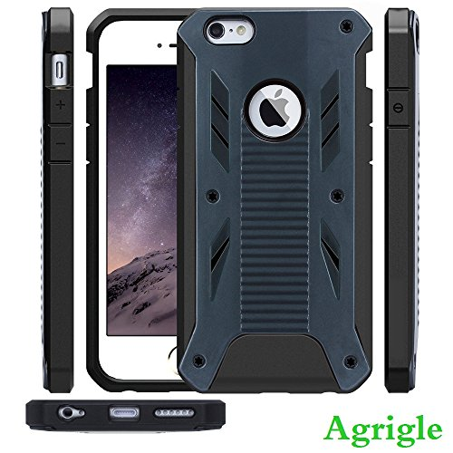iPhone 6 Plus Case,iPhone 6 Plus Bumper Case,Agrigle [Rugged Armor] [Shockproof] Heavy Duty Hard Rugged Ultra Protective Back Rubber Cover with Dual Layer Impact Protection for iPhone 6 Plus 5.5 inch (Black)