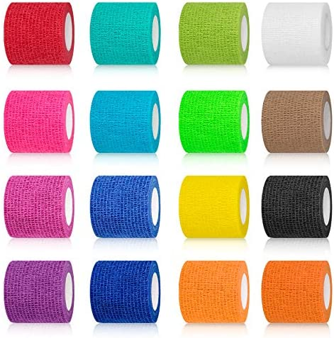"(16-Pack) 2""x 5 Yards Self Adhesive Bandage Wrap, Breathable Vet Wrap Cohesive Bandage First Aid for Pets, Athletic Elastic Self Adherent Wrap for Sports Injury: Wrist, Knee & Ankle Sprains"