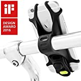 Universal Bike Phone Mount, Bicycle Handlebar Stroller Cell Phone Holder for iPhone 8 7 6S Plus 5 SE Samsung Galaxy S8 S7 Note 6, 4 to 6 Inch Android Smartphone, Bike Tie Series - Black