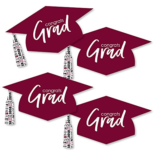 Maroon Grad Hat - Best is Yet to Come - Graduation Hat Decorations DIY Burgundy 2018 Graduation Party Essentials - Set of 20 by Big Dot of Happiness