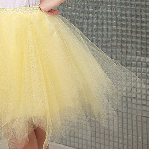 FEOYA Mujer Adultos Falda de Ballet Skirt Princesas Tutú de Tul para Baile Disfraces Fotografía Fiesta Despedida de Soltera Talla Única 19 Colores a Elegir Amarillo claro