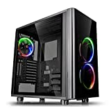 Thermaltake View 31 RGB Dual Tempered Glass SPCC ATX Mid Tower Tt LCS Certified Gaming Computer Case with 3 RGB LED Ring Fan Pre-Installed CA-1H8-00M1WN-01