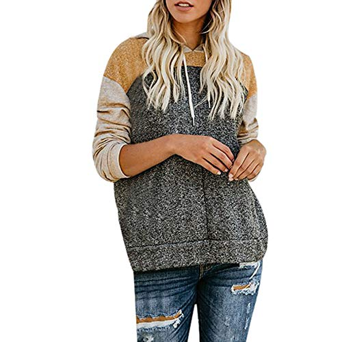 Women Hoodies Sweatshirt Autumn Winter Long Sleeve Patchwork Pocket Fashion Casual Loose Pullover Tops Blouse