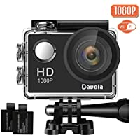 Action Camera Waterproof 1080P WiFi Sports Cam - Davola 170 Degree Wide-angle Lens Underwater Camcorder with 2 Rechargeable Batteries and Mounting Accessories Kit