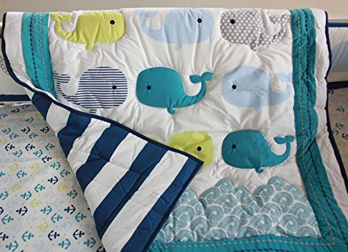 NAUGHTYBOSS Unisex Baby Bedding Set Cotton 3D Embroidery Ocean Whale Quilt Bumper Bed Skirt Mattress Cover Blanket 8 Pieces Ocean Blue by NAUGHTYBOSS (Image #3)