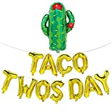 Taco Twosday Balloons with Cactus | Taco Twosday Party Decorations | 2nd Birthday Decorations | Taco Twosday Banner Sign | Fiesta Theme Party Decorations | Gold, 16inch