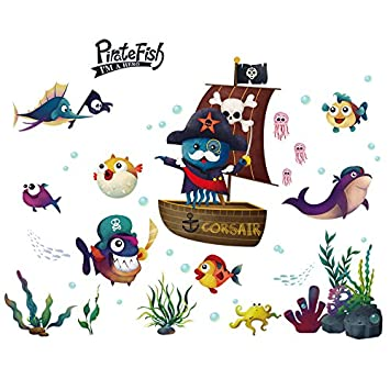 HCCY Cartoon sala infantil barco pirata carteles creative WC ...