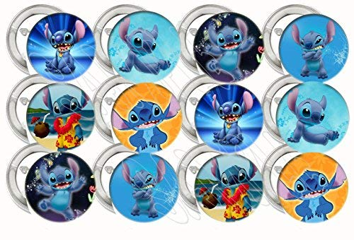 """Lilo and Stitch, STITCH ONLY Party Favors Supplies Decorations Collectible Metal Pinback Buttons Pins, Large 2.25"""" -12 -"""