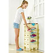 LUCKSTAR Children Shoe Rack - Hanging Shoes Rack - Storage Organizer Shoes Stand Shelf for Kids (Blue Elephant)