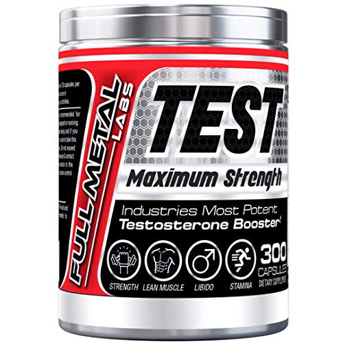 Full Metal Test Booster (300 Capsules) Maximum Strength 3 in 1 Natural Testosterone Booster for Men + Estrogen Blocker + DHEA (1-3 Months Supply) - Premium Ingredients & Industry Leading Dosages