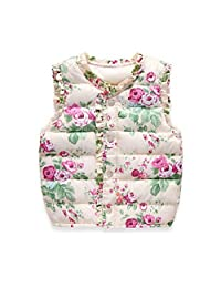 Jlong Baby Girls Floral Warm Vest Sleeveless Jacket Waistcoat Outerwear 2-7Y