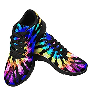 InterestPrint Womens Running Sneakers Lightweight Casual Walking Shoes for Gym Sports Tie Dye Pattern US7