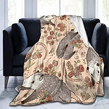 Cyloten Blanket Possums Pattern Fleece Blanket Foldrable Throw Blanket Washable Couch Sofa Fuzzy Blanket Reversible Plush Blanket Beach Blanket for Home Office