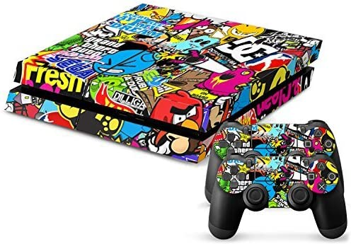 Sticker Bomb (Hoonigan, DC, GTA & more)  PS4 Playstation 4 Console + 2 Controllers Skin Sticker Vinyl Decal Set by Skins R Us: Amazon.es: Videojuegos