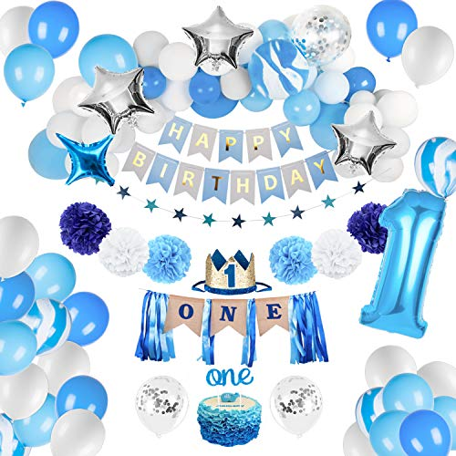 JOYYPOP 1st Birthday Boy Decorations - Baby Boy 1st birthday Party supplies blue decorations 67PCS with 1st Birthday Baby Crown, ONE Cake Topper, 1st Birthday Highchair Banner Decorations Happy Birthday Banner -