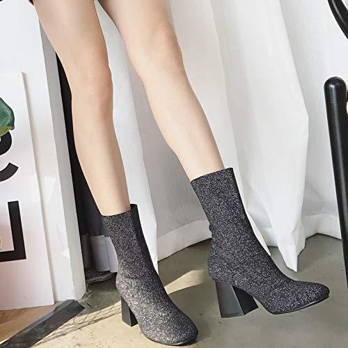 High Heels strickstrümpfe Stiefel Elastische Kurze Stiefel Stiefel Stiefel Kurze Stiefel e4604b