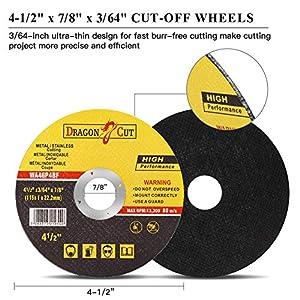 50-Pack 4-1/2-Inch Cut-off Wheels, Type 1   General Purpose Metal Cutting Wheels   Thin Metal Cutting Discs Fit All Brand 4.5 Angle Grinders Dewalt DWE402, Makita 9557PBX1 and More
