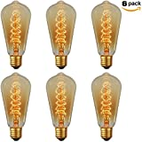 ZZ Lighting Vintage Antique Edison Style Helical Heater Bulb E26 Base Dimmable 110V 360 Degree Beam Warm Light(6 Pack)