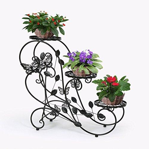 hlc noir porte pots plante fleurs 3 etagere support jardin en metal fer inspid co. Black Bedroom Furniture Sets. Home Design Ideas