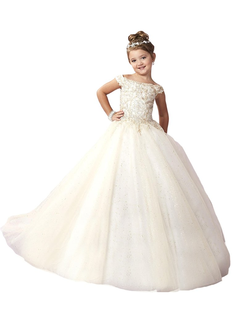 Yang Little Girl's Champagne Sequins Wedding Party Gowns Kids Pageant Dresses 14