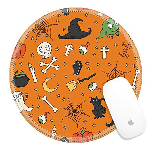Luxlady Round Gaming Mousepad 31443678 Happy Halloween Seamless pattern with pumpkins skulls cats spider s web ghosts monsters witch hat Trick or treat Vector illustration Background