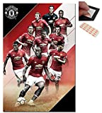 Bundle - 2 Items - Manchester United Players 2017 / 2018 Poster - 91.5 x 61cms (36 x 24 Inches) and a Set of 4 Repositionable Adhesive Pads For Easy Wall Fixing