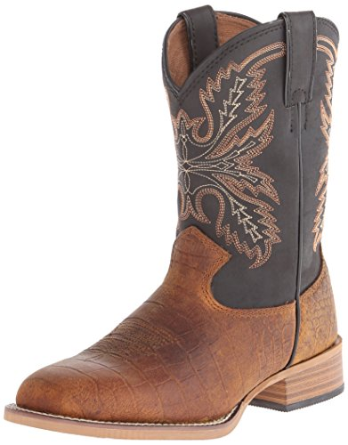 Justin Kids Boy's 380JR (Toddler/Little Kid/Big Kid) Brown/Black Top Boot 4.5 Big Kid M -